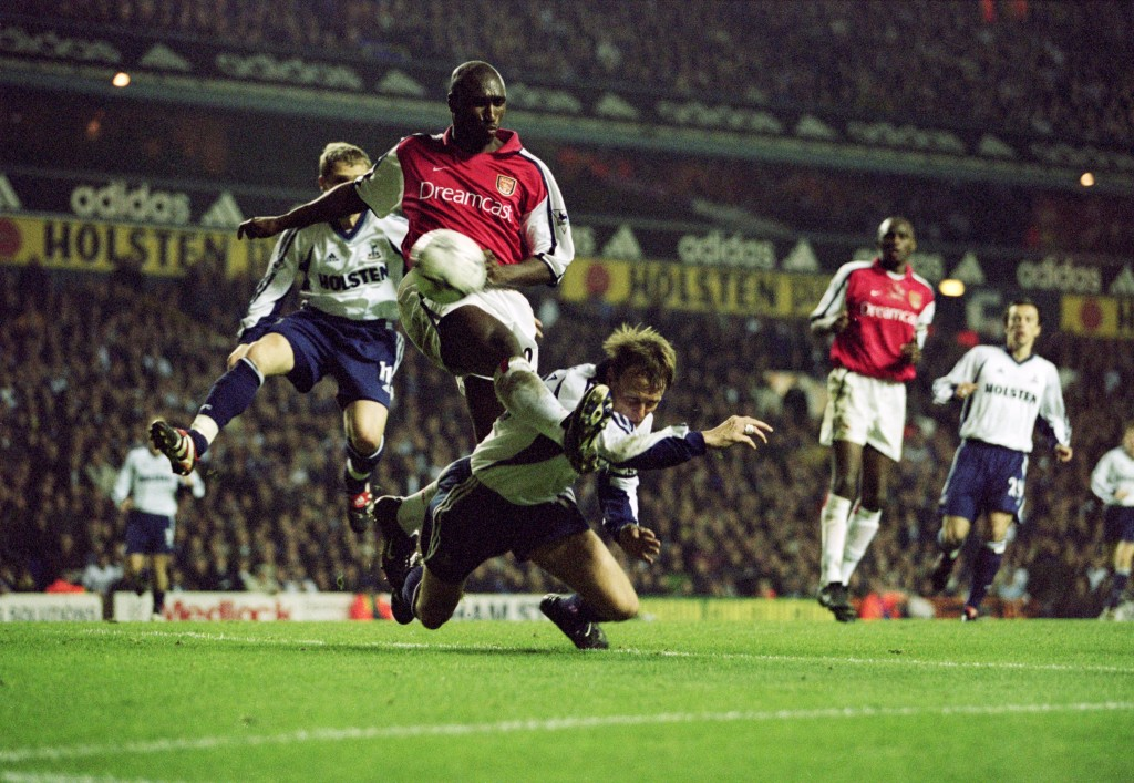 17 Nov 2001: Sol Campbell of Arsenal gets a challenge in on Spurs'' Teddy Sheringham during the FA Barclaycard Premiership match between Tottenham Hotspur and Arsenal played at White Hart Lane in London. The match ended in a 1 - 1 draw. \ Mandatory Credit: Ben Radford /Allsport
