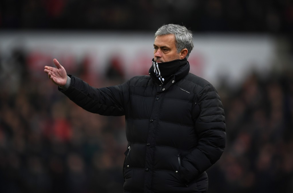 STOKE ON TRENT, ENGLAND - JANUARY 21: Jose Mourinho, Manager of Manchester United gives his team instructions during the Premier League match between Stoke City and Manchester United at Bet365 Stadium on January 21, 2017 in Stoke on Trent, England. (Photo by Gareth Copley/Getty Images)