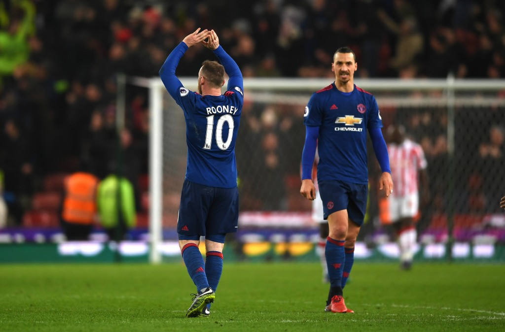 STOKE ON TRENT, ENGLAND - JANUARY 21: Wayne Rooney of Manchester United shows appreciation to the fans after the Premier League match between Stoke City and Manchester United at Bet365 Stadium on January 21, 2017 in Stoke on Trent, England. Wayne Rooney scored his 250th goal for Manchester United in all competitions, which makes him the club's top goal scorer of all time. He surpasses the record previously held by Sir Bobby Charlton. (Photo by Gareth Copley/Getty Images)