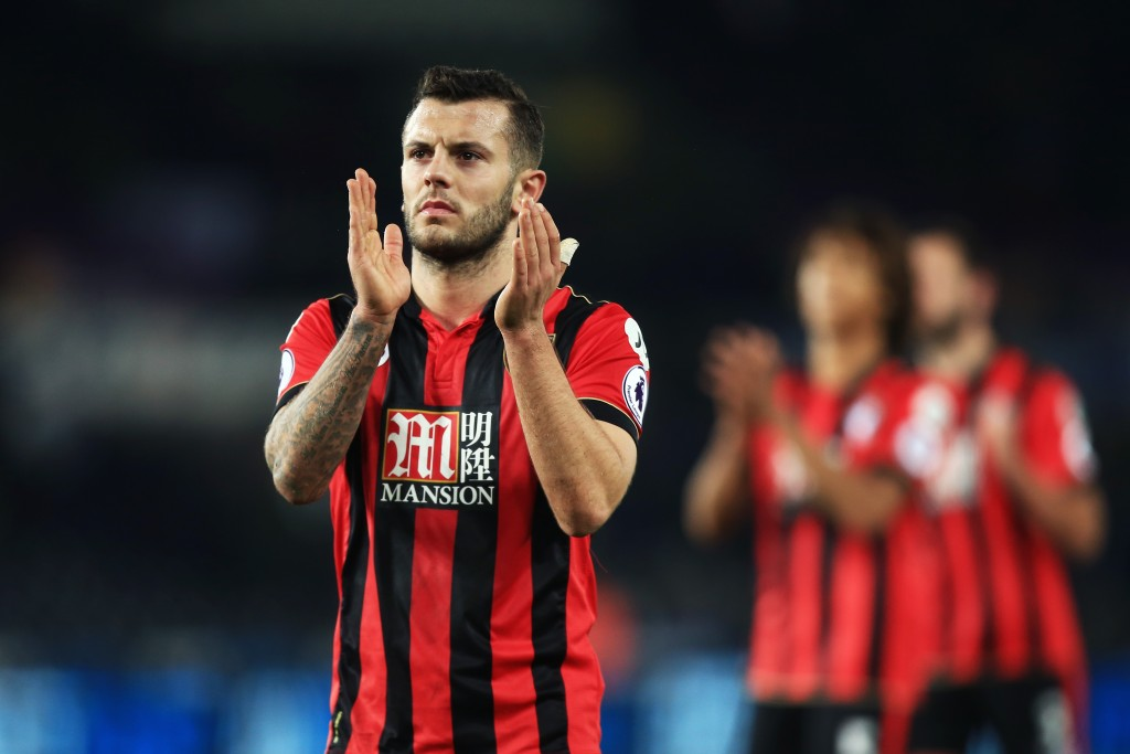 SWANSEA, WALES - DECEMBER 31: Jack Wilshere of AFC Bournemouth applauds supporters after the Premier League match between Swansea City and AFC Bournemouth at Liberty Stadium on December 31, 2016 in Swansea, Wales. (Photo by Ben Hoskins/Getty Images)