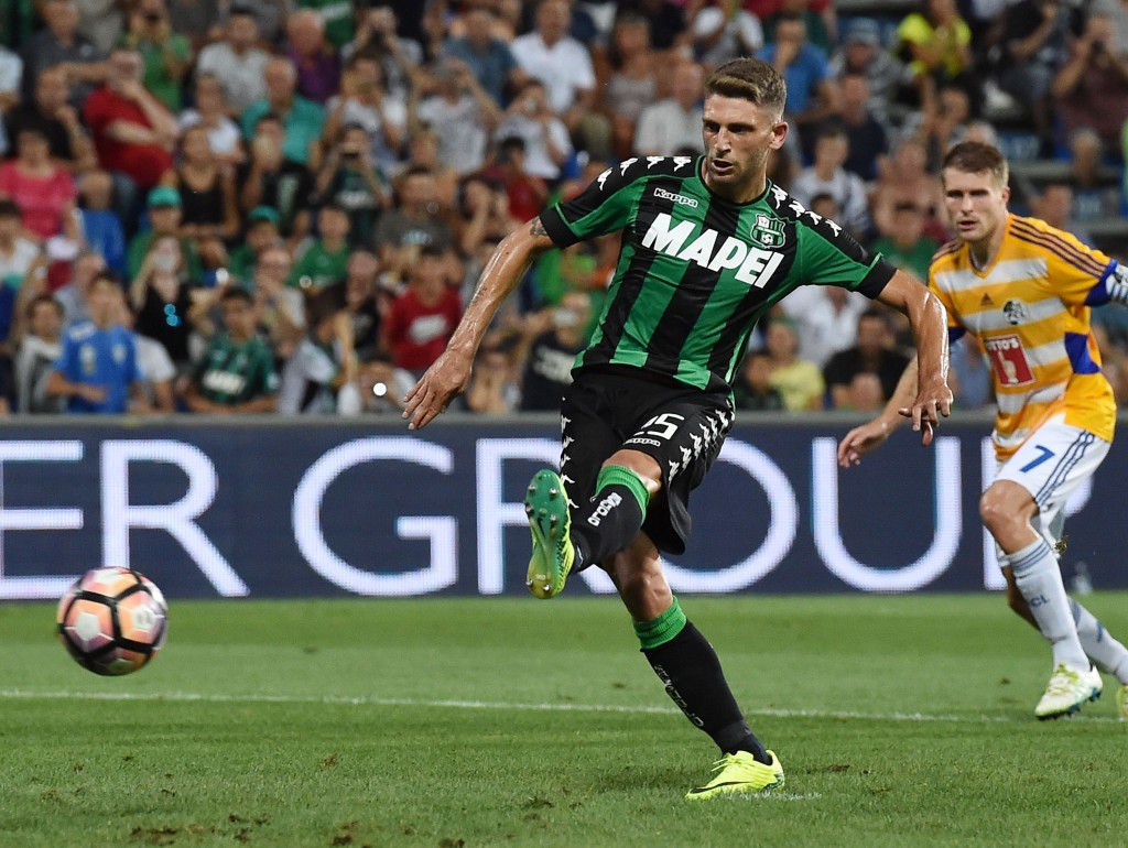 Bending it like Berardi. (Picture Courtesy - AFP/Getty Images)