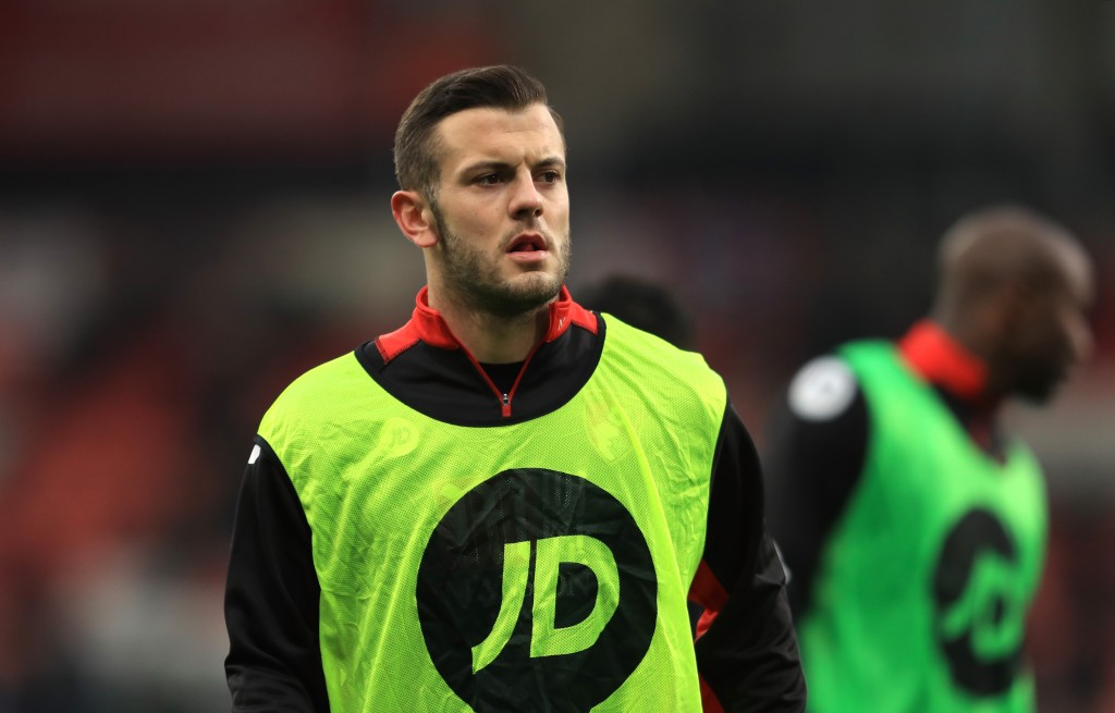 BOURNEMOUTH, ENGLAND - JANUARY 21: Jack Wilshere of AFC Bournemouth (C) warms up prior to the Premier League match between AFC Bournemouth and Watford at Vitality Stadium on January 21, 2017 in Bournemouth, England. (Photo by Richard Heathcote/Getty Images)