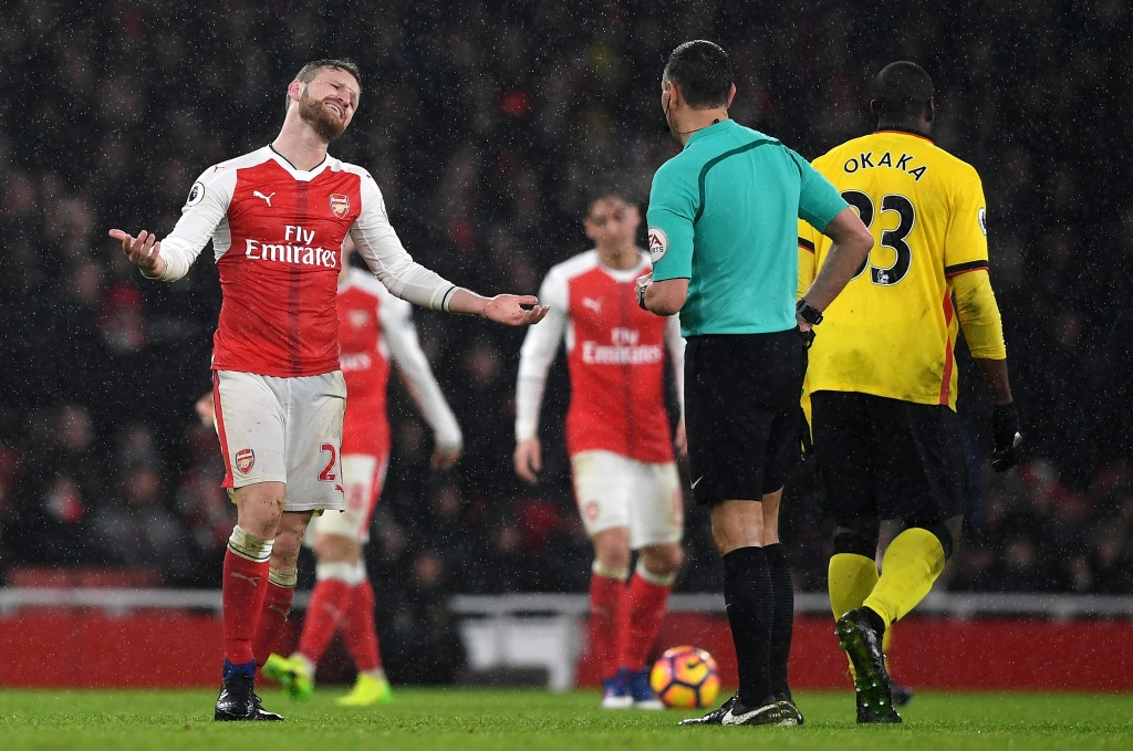 LONDON, ENGLAND - JANUARY 31: Shkodran Mustafi of Arsenal appeals to Referee Andre Marriner during the Premier League match between Arsenal and Watford at Emirates Stadium on January 31, 2017 in London, England. (Photo by Shaun Botterill/Getty Images)