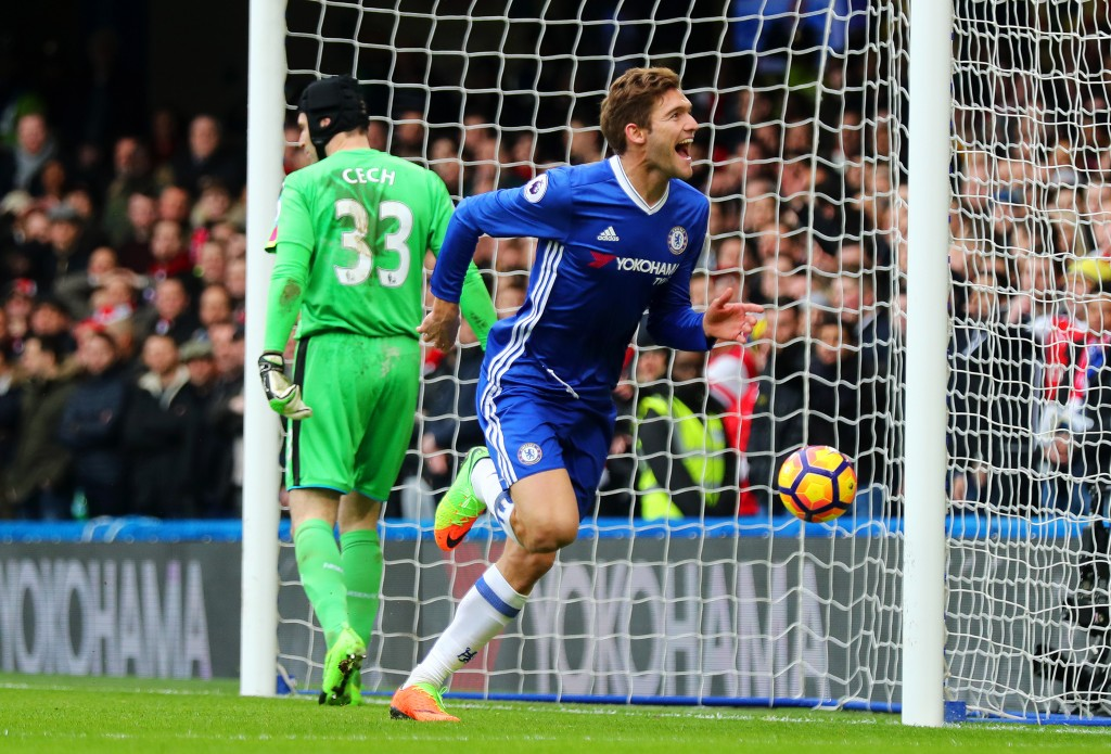 LONDON, ENGLAND - FEBRUARY 04: Marcos Alonso of Chelsea celebrates after scoring the opening goal during the Premier League match between Chelsea and Arsenal at Stamford Bridge on February 4, 2017 in London, England. (Photo by Clive Rose/Getty Images)