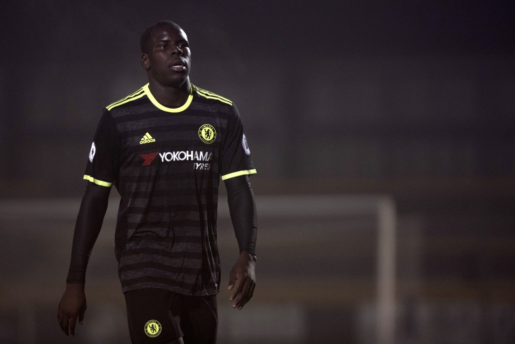 SOUTHPORT, ENGLAND - October 31: Kurt Zouma of Chelsea looks on during the Premier League 2 match between Everton U21s and Chelsea U21s at Haig Avenue Stadium on October 31, 2016 in Southport, England. (Photo by Nathan Stirk/Getty Images)