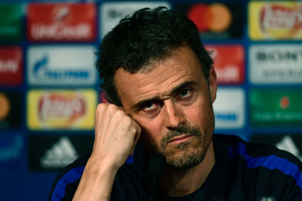 FC Barcelona coach Luis Enrique looks over during the press conference on the eve of the Champions League last 16 first leg against (PSG) Paris Saint-Germain, at the stade de France on February 13, 2017. / AFP / CHRISTOPHE SIMON (Photo credit should read CHRISTOPHE SIMON/AFP/Getty Images)