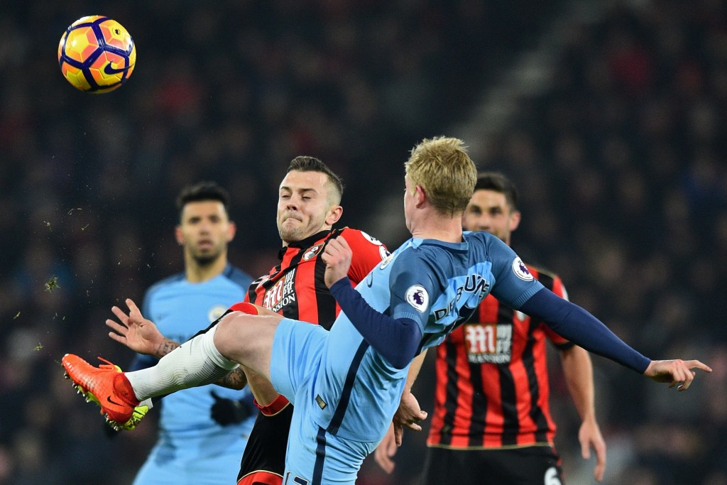 Pep Guardiola had a closer look at Wilshere during Manchester City's match against Bournemouth this week. (Photo courtesy - Glyn Kirk/AFP/Getty Images)