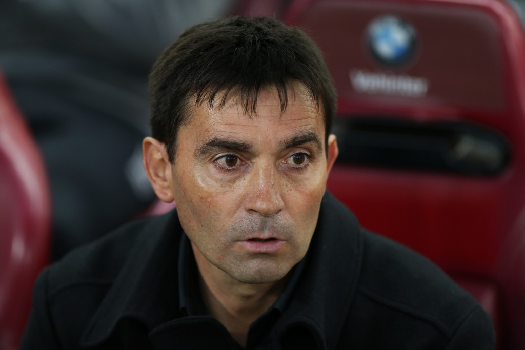 Leganes' coach Asier Garitano looks on before the Spanish league football match Club Atletico de Madrid vs Club Deportivo Leganes SAD at the Vicente Calderon stadium in Madrid on February 4, 2017. / AFP / CESAR MANSO (Photo credit should read CESAR MANSO/AFP/Getty Images)