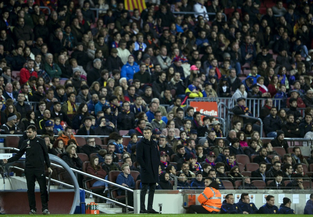 Barcelona's coach Luis Enrique stands on the sideline during the Spanish league football match FC Barcelona vs CD Leganes at the Camp Nou stadium in Barcelona on February 19, 2017. / AFP / Josep Lago (Photo credit should read JOSEP LAGO/AFP/Getty Images)