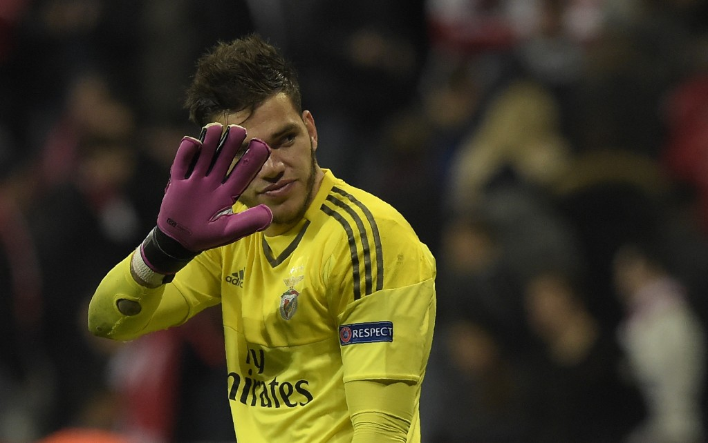 Benfica's Brazilian goalkeeper Ederson Moraes reacts after the Champions League quarter-final, first-leg football match between Bayern Munich and Benfica Lisbon in Munich, southern Germany, on April 5, 2016. / AFP / TOBIAS SCHWARZ (Photo credit should read TOBIAS SCHWARZ/AFP/Getty Images)