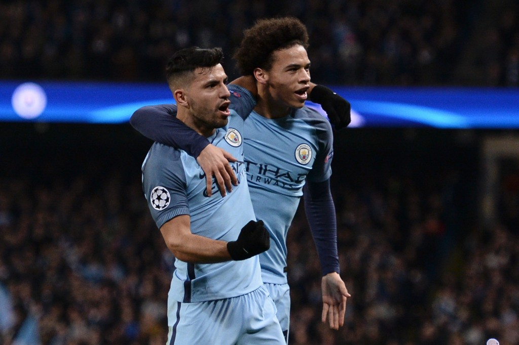 Manchester City's Argentinian striker Sergio Aguero (L) celebrates scoring their second goal with Manchester City's German midfielder Leroy Sane (R) during the UEFA Champions League Round of 16 first-leg football match between Manchester City and Monaco at the Etihad Stadium in Manchester, north west England on February 21, 2017. / AFP / Oli SCARFF (Photo credit should read OLI SCARFF/AFP/Getty Images)
