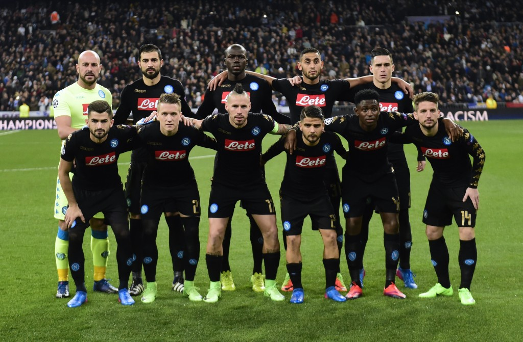 (Top L-R) Napoli's goalkeeper from Spain Pepe Reina, Napoli's defender from Spain Raul Albiol, Napoli's defender from France Kalidou Koulibaly, Napoli's defender from Algeria Faouzi Ghoulam, Napoli's midfielder from Spain Jose Maria Callejon (bottom L-R) Napoli's defender from Albania Elseid Hysaj, Napoli's midfielder from Poland Piotr Zielinski, Napoli's midfielder from Slovakia Marek Hamsik, Napoli's midfielder Lorenzo Insigne, Napoli's midfielder from Guinea Amadou Diawara and Napoli's forward from Belgium Dries Mertens pose before the UEFA Champions League round of 16 first leg football match Real Madrid CF vs SSC Napoli at Santiago Bernabeu stadium in Madrid on February 15, 2017. / AFP / PIERRE-PHILIPPE MARCOU (Photo credit should read PIERRE-PHILIPPE MARCOU/AFP/Getty Images)