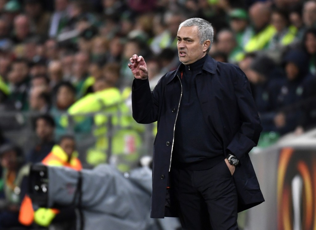 Manchester United's Portuguese coach Jose Mourinho gestures during the UEFA Europa League football match between AS Saint-Etienne and Manchester United on February 22, 2017, at the Geoffroy Guichard stadium in Saint-Etienne, central France. / AFP / PHILIPPE DESMAZES (Photo credit should read PHILIPPE DESMAZES/AFP/Getty Images)