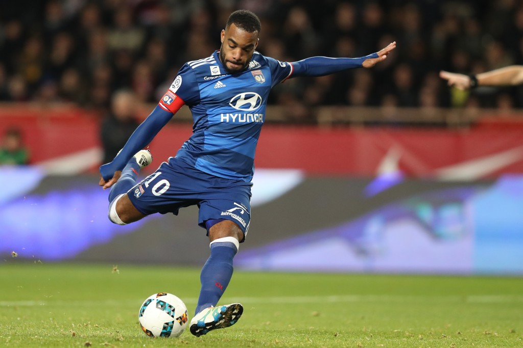 Lyon's French forward Alexandre Lacazette takes a penalty kick which he missed during the French L1 football match between AS Monaco and Lyon at the Louis II Stadium in Monaco on December 18, 2016. / AFP / VALERY HACHE (Photo credit should read VALERY HACHE/AFP/Getty Images)