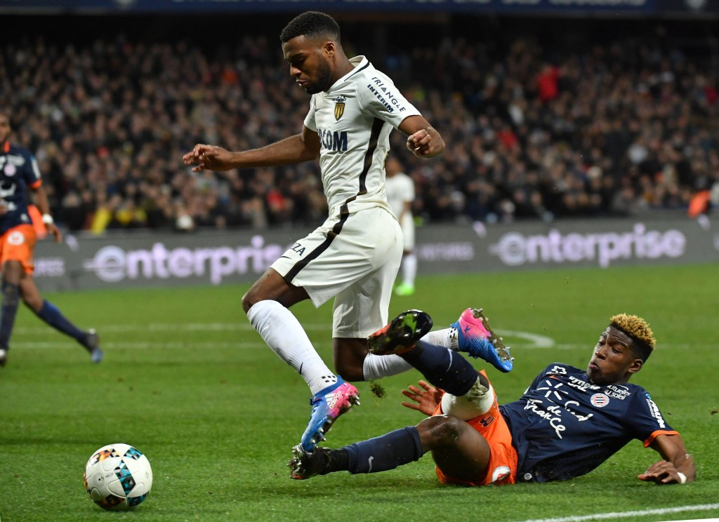 Monaco's French midfielder Thomas Lemar (L) vies with Montpellier's French defender Nordi Mukiele (R) during the French L1 football match between MHSC Montpellier and Monaco, on February 7, 2017 at the La Mosson Stadium in Montpellier, southern France. / AFP / PASCAL GUYOT (Photo credit should read PASCAL GUYOT/AFP/Getty Images)
