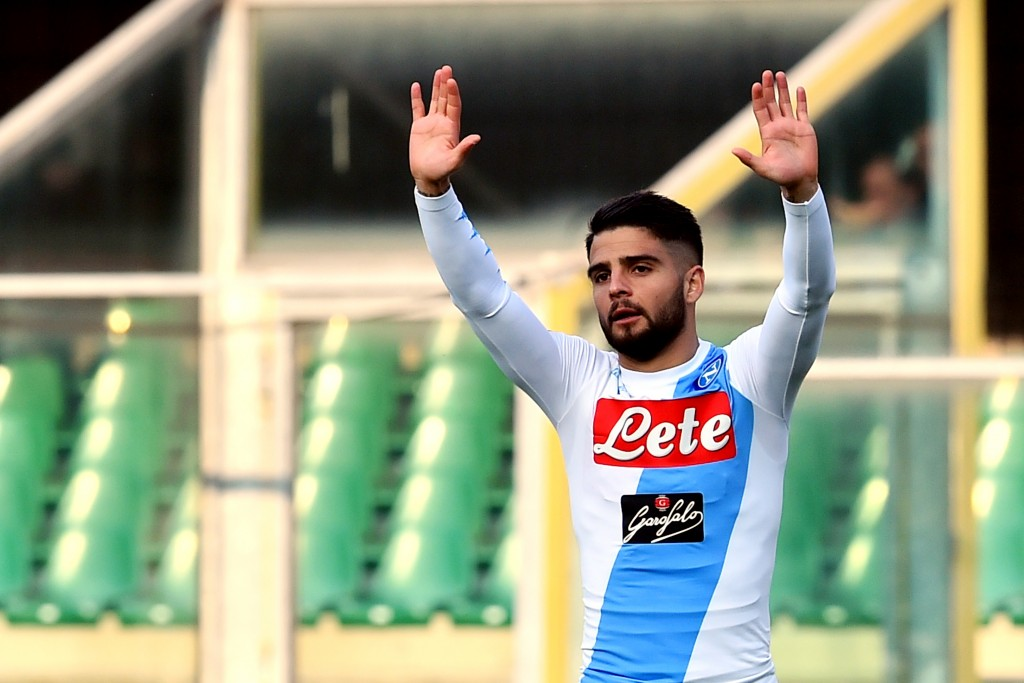 """Napoli's midfielder from Italy Lorenzo Insigne gestures during the Italian Serie A football match Chievo vs Napoli at """"Bentegodi Stadium"""" in Verona on February 19, 2017. / AFP / GIUSEPPE CACACE (Photo credit should read GIUSEPPE CACACE/AFP/Getty Images)"""
