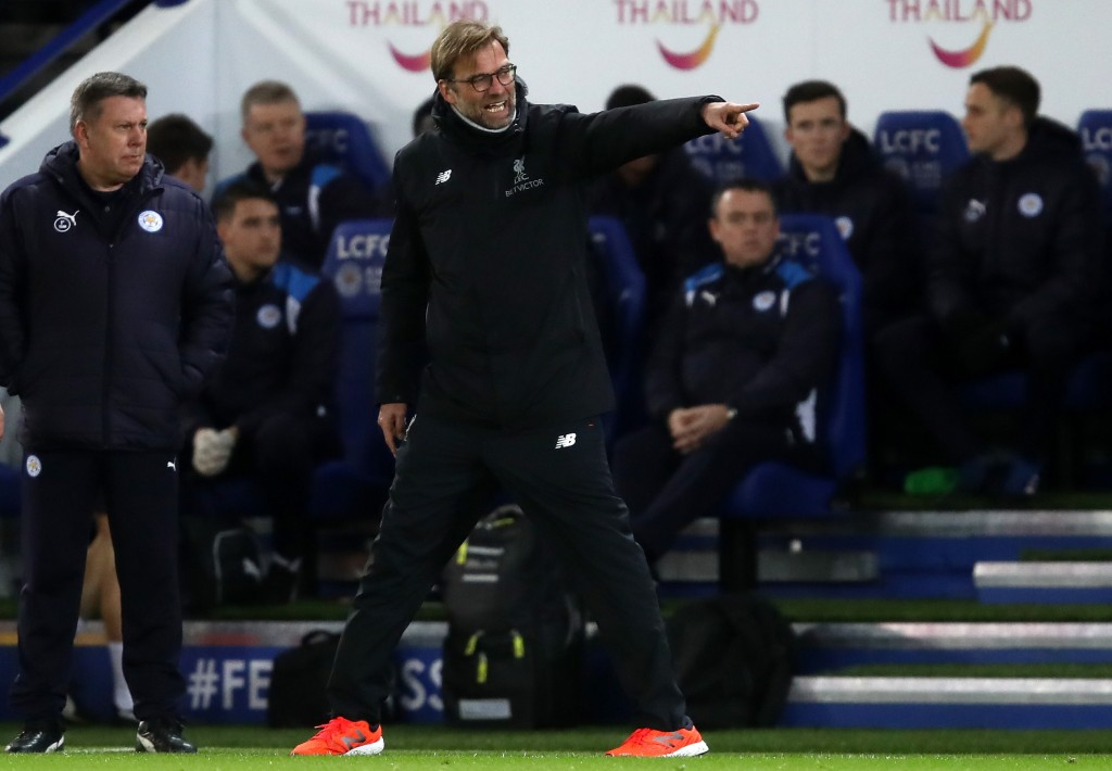 LEICESTER, ENGLAND - FEBRUARY 27: Jurgen Klopp, Manager of Liverpool reacts during the Premier League match between Leicester City and Liverpool at The King Power Stadium on February 27, 2017 in Leicester, England. (Photo by Julian Finney/Getty Images)