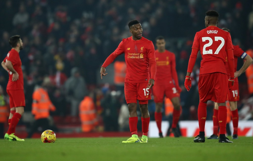 LIVERPOOL, ENGLAND - JANUARY 25: Daniel Sturridge of Liverpool speaks with Divock Origi of Liverpool after conceding a goal during the EFL Cup Semi-Final Second Leg match between Liverpool and Southampton at Anfield on January 25, 2017 in Liverpool, England. (Photo by Julian Finney/Getty Images)