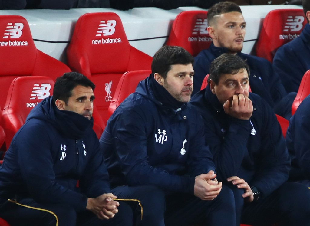 LIVERPOOL, ENGLAND - FEBRUARY 11: Mauricio Pochettino, Manager of Tottenham Hotspur (C) looks on during the Premier League match between Liverpool and Tottenham Hotspur at Anfield on February 11, 2017 in Liverpool, England. (Photo by Clive Brunskill/Getty Images)
