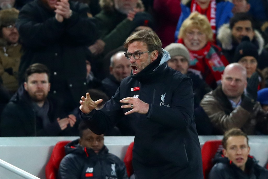 LIVERPOOL, ENGLAND - FEBRUARY 11: Jurgen Klopp, Manager of Liverpool reacts during the Premier League match between Liverpool and Tottenham Hotspur at Anfield on February 11, 2017 in Liverpool, England. (Photo by Clive Brunskill/Getty Images)