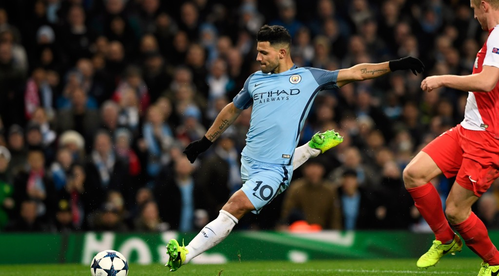 MANCHESTER, ENGLAND - FEBRUARY 21: Manchester City striker Sergio Aguero scores the second City goal during the UEFA Champions League Round of 16 first leg match between Manchester City FC and AS Monaco at Etihad Stadium on February 21, 2017 in Manchester, United Kingdom. (Photo by Stu Forster/Getty Images)