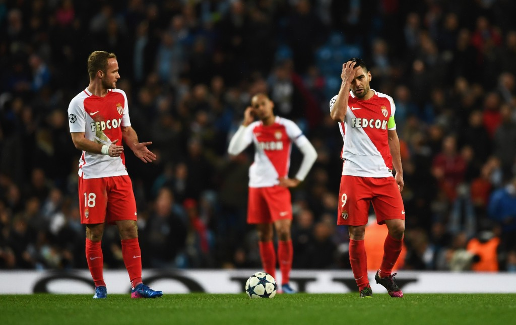 MANCHESTER, ENGLAND - FEBRUARY 21: Valere Germain (18) and Radamel Falcao Garcia of AS Monaco look despondent during the UEFA Champions League Round of 16 first leg match between Manchester City FC and AS Monaco at Etihad Stadium on February 21, 2017 in Manchester, United Kingdom. (Photo by Laurence Griffiths/Getty Images)