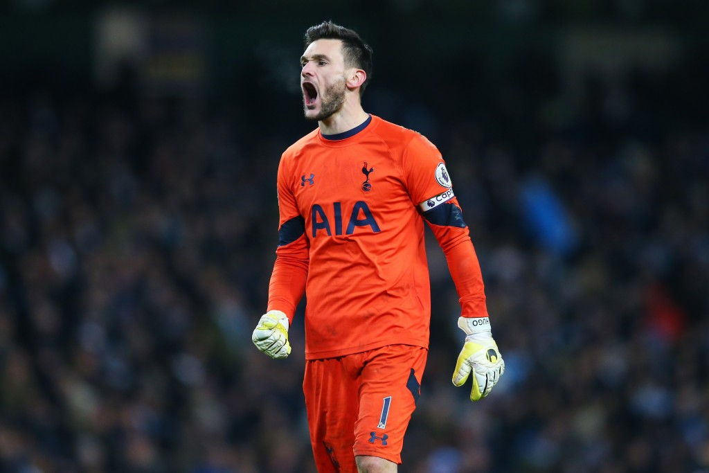 MANCHESTER, ENGLAND - JANUARY 21: Hugo Lloris of Tottenham Hotspur celebrates his sides second goal during the Premier League match between Manchester City and Tottenham Hotspur at the Etihad Stadium on January 21, 2017 in Manchester, England. (Photo by Alex Livesey/Getty Images)