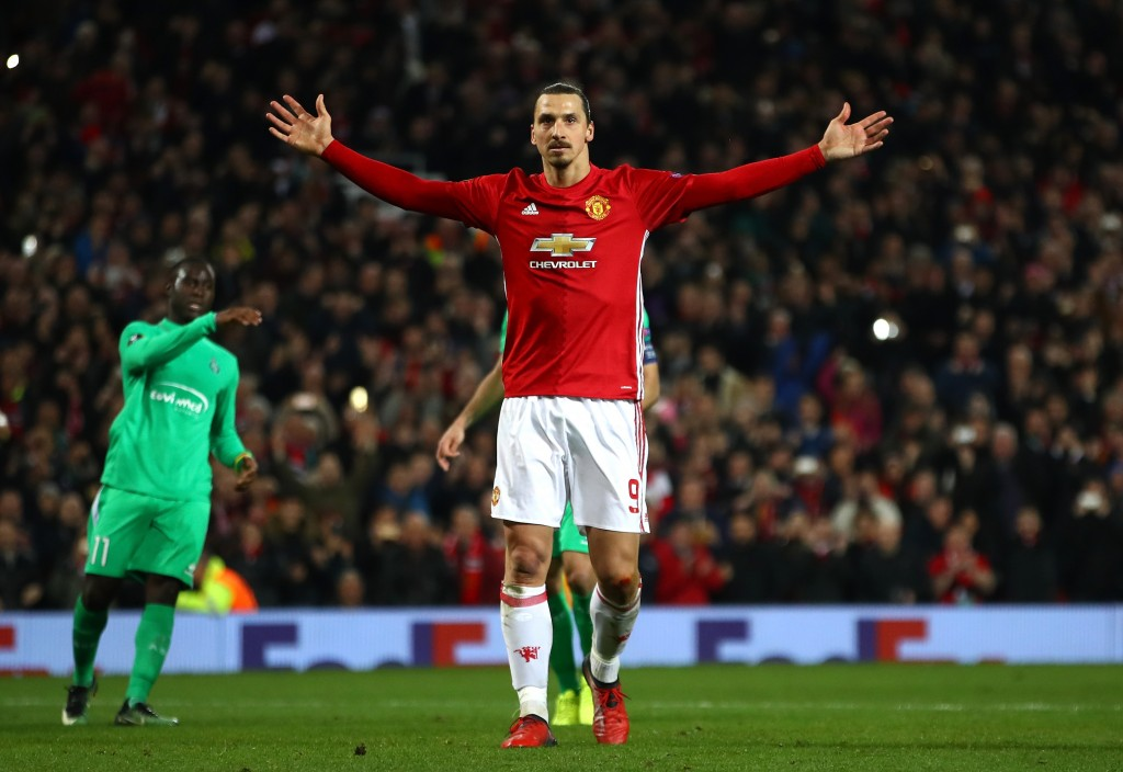 MANCHESTER, ENGLAND - FEBRUARY 16: Zlatan Ibrahimovic of Manchester United celebrates after scoring his third and his sides third goal during the UEFA Europa League Round of 32 first leg match between Manchester United and AS Saint-Etienne at Old Trafford on February 16, 2017 in Manchester, United Kingdom. (Photo by Clive Brunskill/Getty Images)