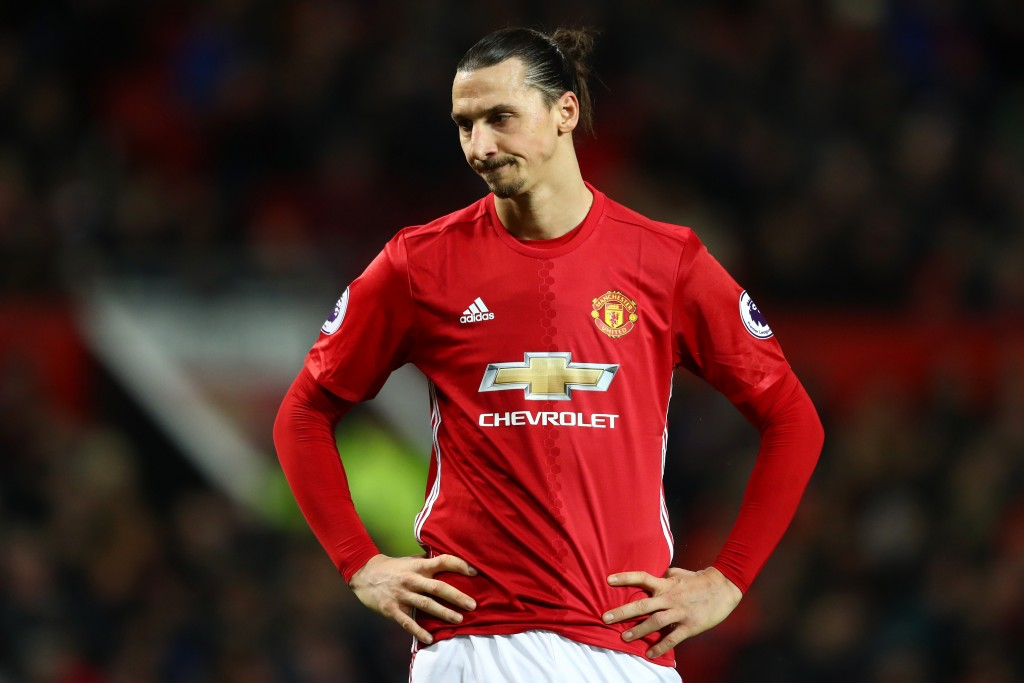 MANCHESTER, ENGLAND - FEBRUARY 01: Zlatan Ibrahimovic of Manchester United looks on during the Premier League match between Manchester United and Hull City at Old Trafford on February 1, 2017 in Manchester, England. (Photo by Clive Mason/Getty Images)
