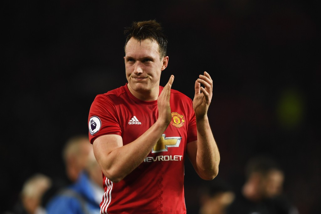 MANCHESTER, ENGLAND - JANUARY 15: Phil Jones of Manchester United applauds the crowd after the Premier League match between Manchester United and Liverpool at Old Trafford on January 15, 2017 in Manchester, England. (Photo by Mike Hewitt/Getty Images)