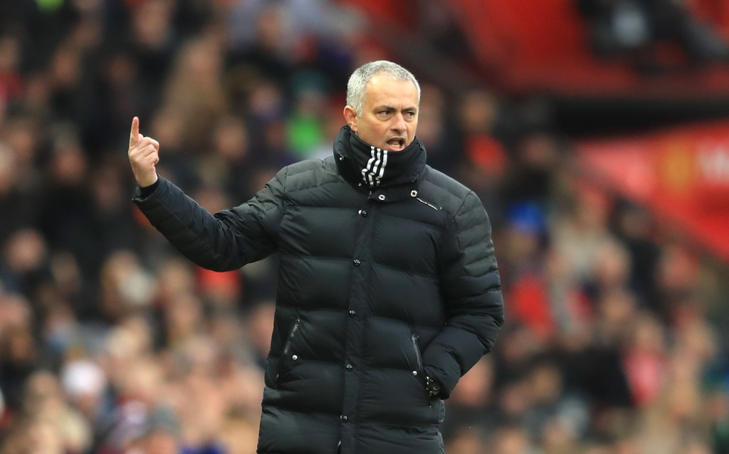 MANCHESTER, ENGLAND - FEBRUARY 11: Jose Mourinho, Manager of Manchester United gestures to the crowd during the Premier League match between Manchester United and Watford at Old Trafford on February 11, 2017 in Manchester, England. (Photo by Richard Heathcote/Getty Images)