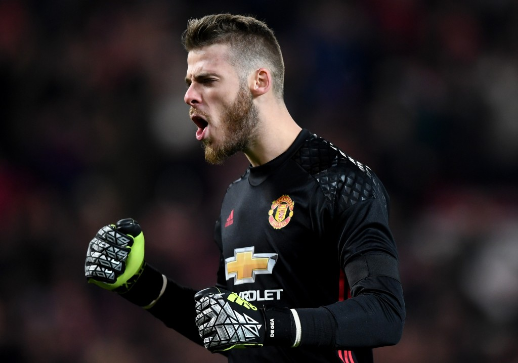 MANCHESTER, ENGLAND - NOVEMBER 30: David De Gea of Manchester United celebrates after teammate Zlatan Ibrahimovic of Manchester United scores the opening goal during the EFL Cup quarter final match between Manchester United and West Ham United at Old Trafford on November 30, 2016 in Manchester, England. (Photo by Shaun Botterill/Getty Images)