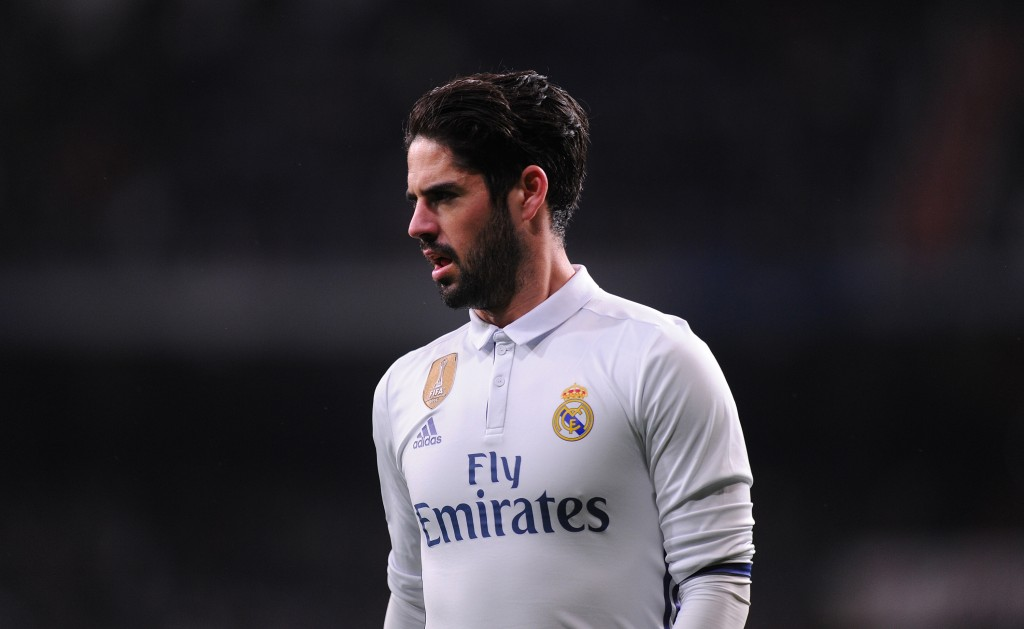 MADRID, SPAIN JANUARY 29: Isco Alarcon of Real Madrid looks on during the La Liga match between Real Madrid CF and Real Sociedad de Futbol at the Bernabeu on January 29, 2017 in Madrid, Spain. (Photo by Denis Doyle/Getty Images)