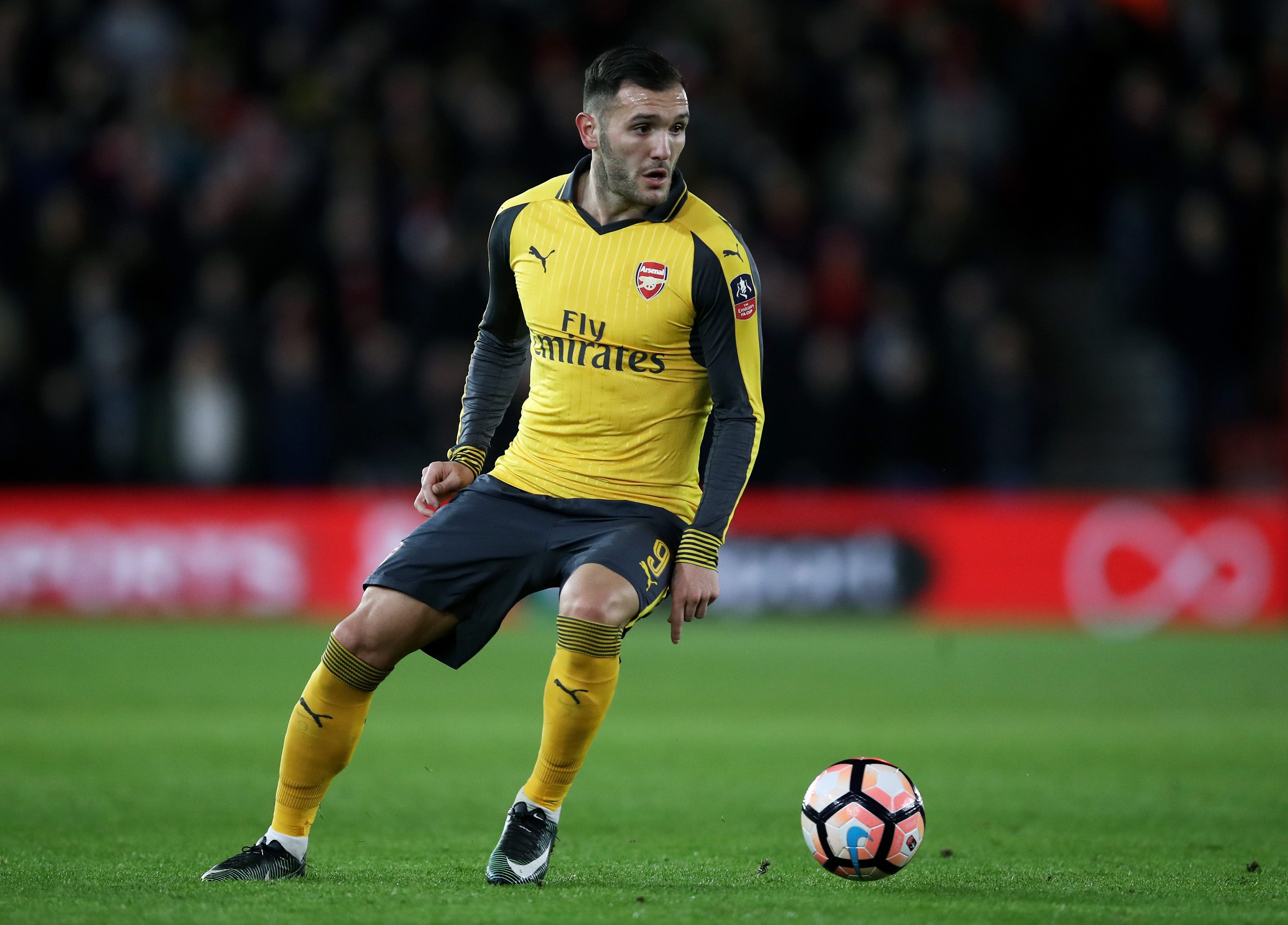 SOUTHAMPTON, ENGLAND - JANUARY 28: Lucas Perez of Arsenal in action during the Emirates FA Cup Fourth Round match between Southampton and Arsenal at St Mary's Stadium on January 28, 2017 in Southampton, England. (Photo by Julian Finney/Getty Images)