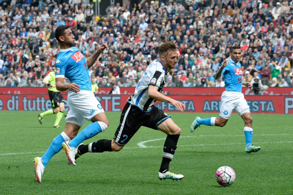UDINE, ITALY - APRIL 03: Faouzi Ghoulam (L) of SSC Napoli fouling Silvan Widmer of Udinese Calcio to penalty during the Serie A match between Udinese Calcio and SSC Napoli at Stadio San Paolo on April 3, 2016 in Naples, Italy. (Photo by Dino Panato/Getty Images)