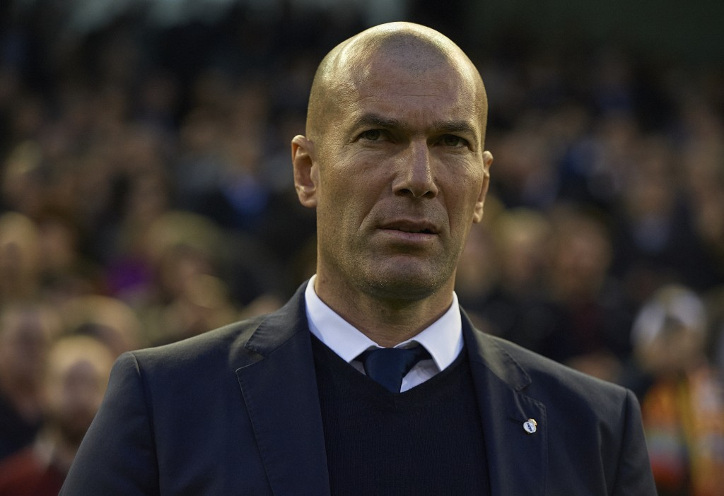 VALENCIA, SPAIN - FEBRUARY 22: Real Madrid manager Zinedine Zidane looks on prior to the La Liga match between Valencia CF and Real Madrid at Mestalla Stadium on February 22, 2017 in Valencia, Spain. (Photo by Manuel Queimadelos Alonso/Getty Images)
