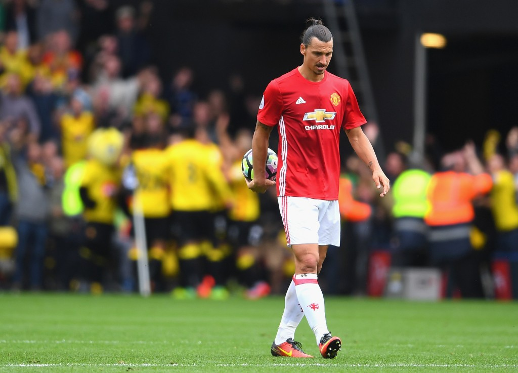 Zlatan Ibrahimovic will look to make the embarrassing memories of the 3-1 loss at Watford a distant memory when The Hornets come visiting to Old Trafford. (Photo courtesy - Laurence Griffiths/Getty Images)