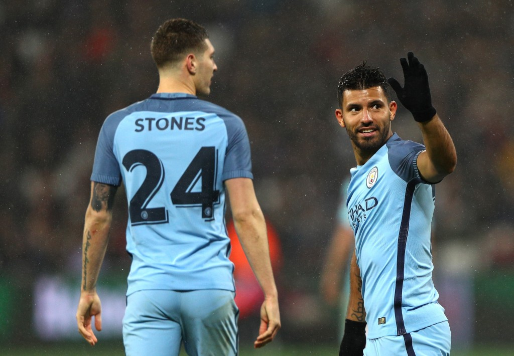 LONDON, ENGLAND - JANUARY 06: Sergio Aguero of Manchester City celebrates after scoring his sides fourth goal during The Emirates FA Cup Third Round match between West Ham United and Manchester City at London Stadium on January 6, 2017 in London, England. (Photo by Ian Walton/Getty Images)