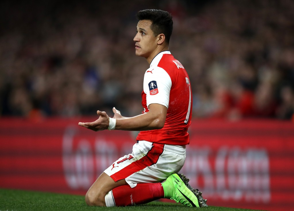 LONDON, ENGLAND - MARCH 11: Alexis Sanchez of Arsenal reacts during The Emirates FA Cup Quarter-Final match between Arsenal and Lincoln City at Emirates Stadium on March 11, 2017 in London, England. (Photo by Julian Finney/Getty Images)