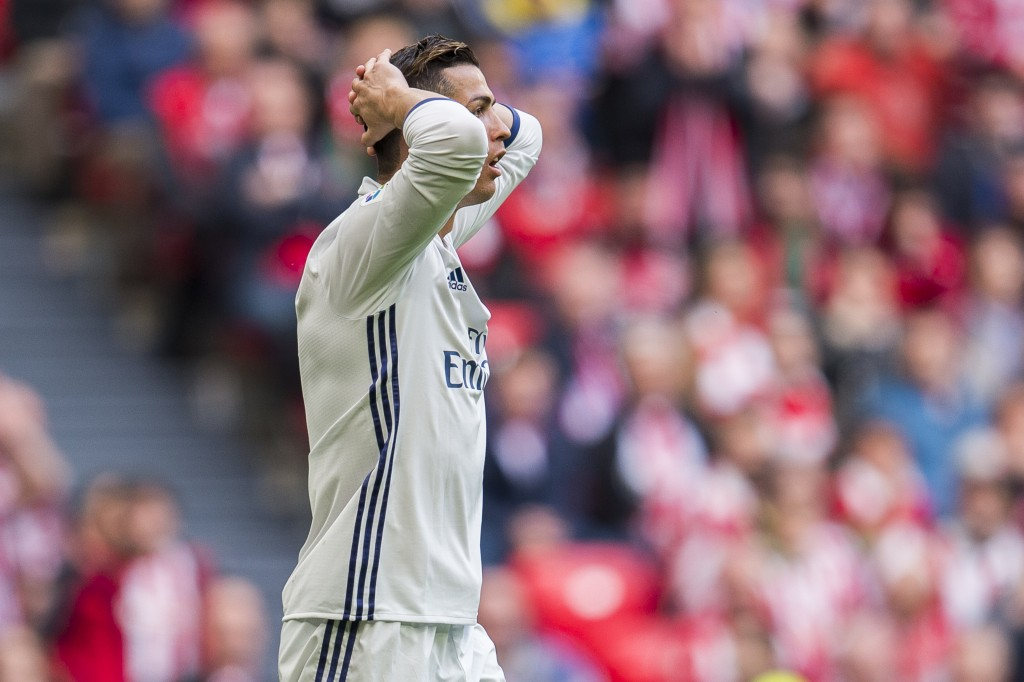 BILBAO, SPAIN - MARCH 18: Cristiano Ronaldo of Real Madrid reacts during the La Liga match between Athletic Club Bilbao and Real Madrid at San Mames Stadium on March 18, 2017 in Bilbao, Spain. (Photo by Juan Manuel Serrano Arce/Getty Images)