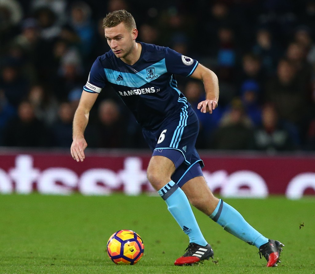 BURNLEY, ENGLAND - DECEMBER 26: Ben Gibson of Middlesbrough during the Premier League match between Burnley and Middlesbrough at Turf Moor on December 26, 2016 in Burnley, England. (Photo by Dave Thompson/Getty Images)