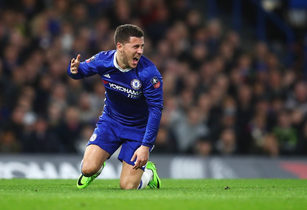 LONDON, ENGLAND - MARCH 13: Eden Hazard of Chelsea reacts during The Emirates FA Cup Quarter-Final match between Chelsea and Manchester United at Stamford Bridge on March 13, 2017 in London, England. (Photo by Julian Finney/Getty Images)