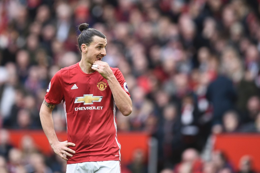 Manchester United's Swedish striker Zlatan Ibrahimovic gestures during the English Premier League football match between Manchester United and Bournemouth at Old Trafford in Manchester, north west England, on March 4, 2017. / AFP PHOTO / Oli SCARFF / RESTRICTED TO EDITORIAL USE. No use with unauthorized audio, video, data, fixture lists, club/league logos or 'live' services. Online in-match use limited to 75 images, no video emulation. No use in betting, games or single club/league/player publications. / (Photo credit should read OLI SCARFF/AFP/Getty Images)
