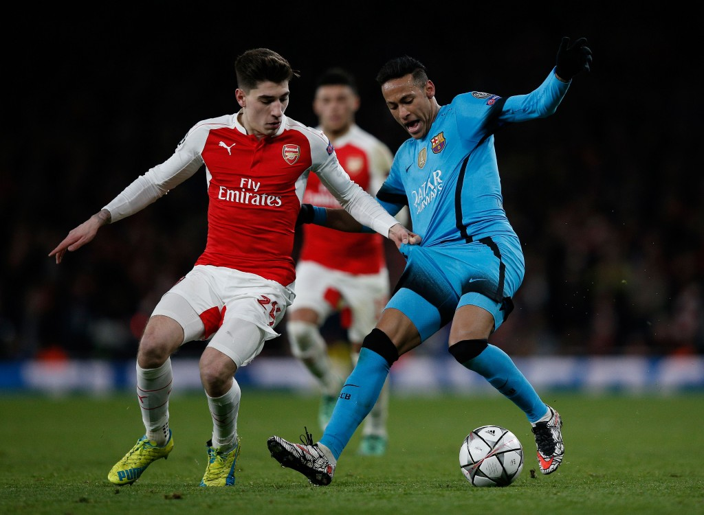 Arsenal's Spanish defender Hector Bellerin (L) vies with Barcelona's Brazilian forward Neymar during the UEFA Champions League round of 16 1st leg football match between Arsenal and Barcelona at the Emirates Stadium in London on February 23, 2016. / AFP / ADRIAN DENNIS (Photo credit should read ADRIAN DENNIS/AFP/Getty Images)