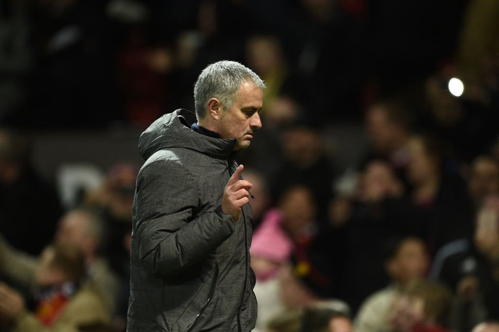 Manchester United's Portuguese manager Jose Mourinho leaves the pitch at the end of the UEFA Europa League round of 16 second-leg football match between Manchester United and FC Rostov at Old Trafford stadium in Manchester, north-west England, on March 16, 2017. / AFP PHOTO / Oli SCARFF (Photo credit should read OLI SCARFF/AFP/Getty Images)