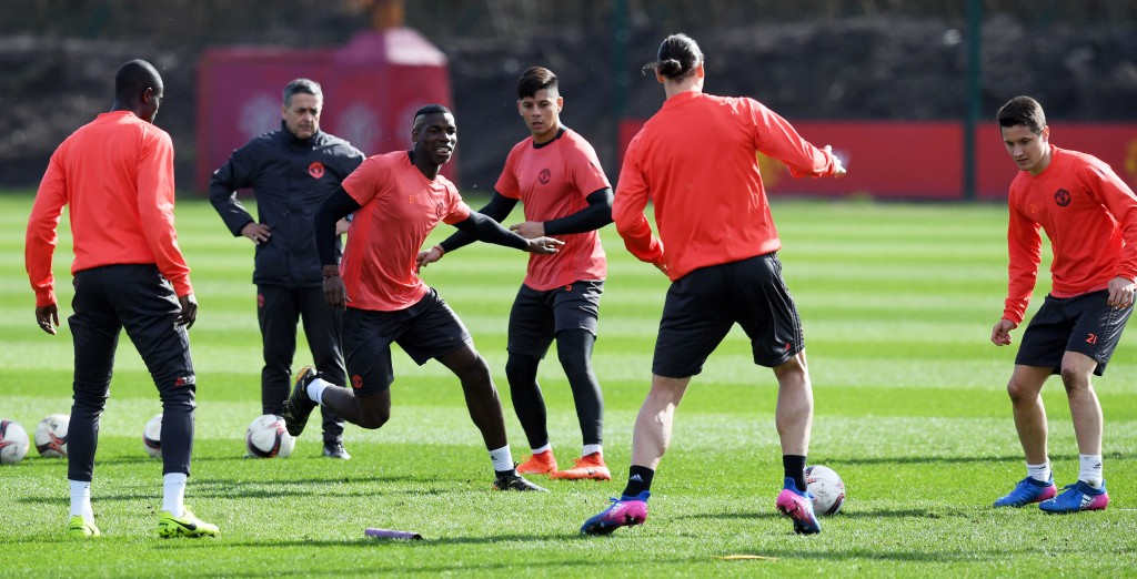 The Manchester United players prepare ahead of Thursday's match. (Photo courtesy - Paul Ellis/AFP/Getty Images)