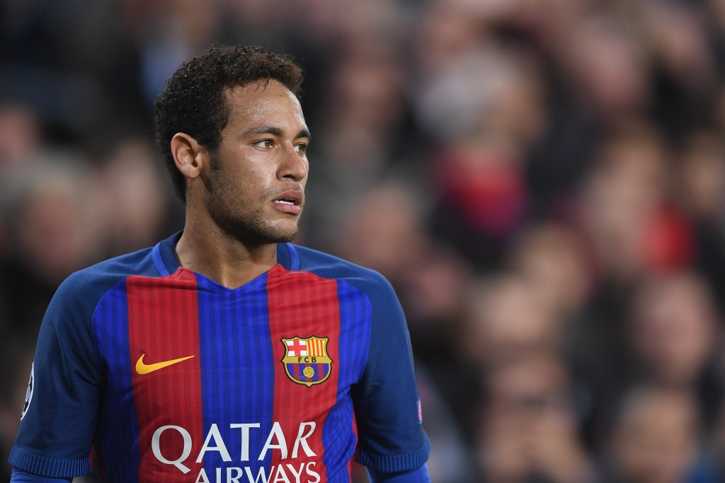 BARCELONA, SPAIN - MARCH 08: Neymar of Barcelona looks on during the UEFA Champions League Round of 16 second leg match between FC Barcelona and Paris Saint-Germain at Camp Nou on March 8, 2017 in Barcelona, Spain. (Photo by Michael Regan/Getty Images)