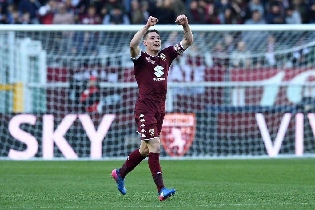 TURIN, ITALY - MARCH 05: Andrea Belotti of FC Torino celebrates a goal during the Serie A match between FC Torino and US Citta di Palermo at Stadio Olimpico di Torino on March 5, 2017 in Turin, Italy. (Photo by Valerio Pennicino/Getty Images)