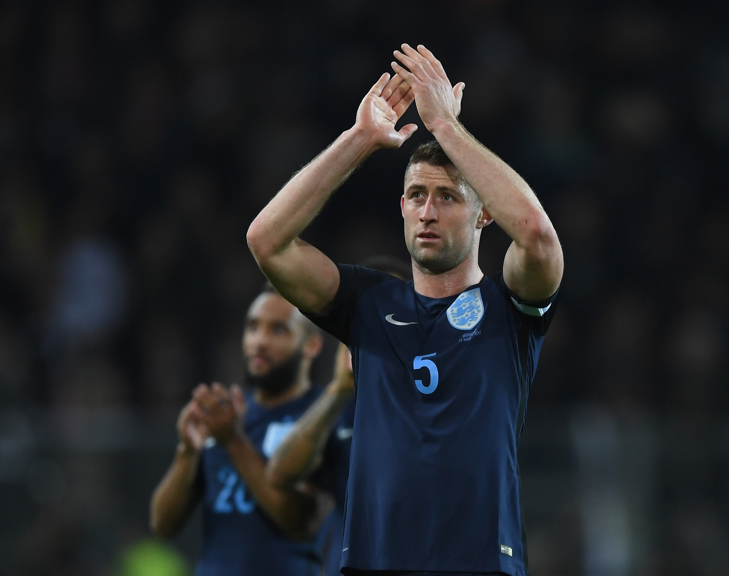 DORTMUND, GERMANY - MARCH 22: Gary Cahill of England applauds supporters after the full time whistle during the international friendly match between Germany and England at Signal Iduna Park on March 22, 2017 in Dortmund, Germany. (Photo by Shaun Botterill/Getty Images)