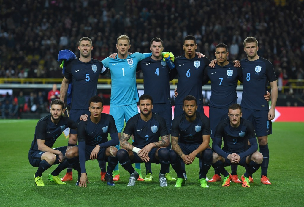 DORTMUND, GERMANY - MARCH 22: The England team pose for a photograph prior to the international friendly match between Germany and England at Signal Iduna Park on March 22, 2017 in Dortmund, Germany. (Photo by Shaun Botterill/Getty Images)